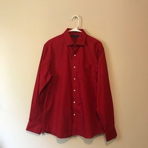 Tommy Hilfiger red button down shirt top